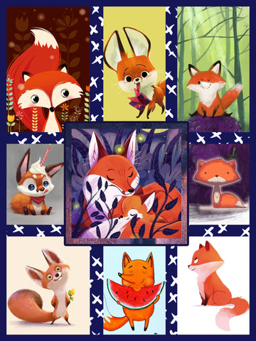 Image of Cute Fox Complication 3D Throw Blanket