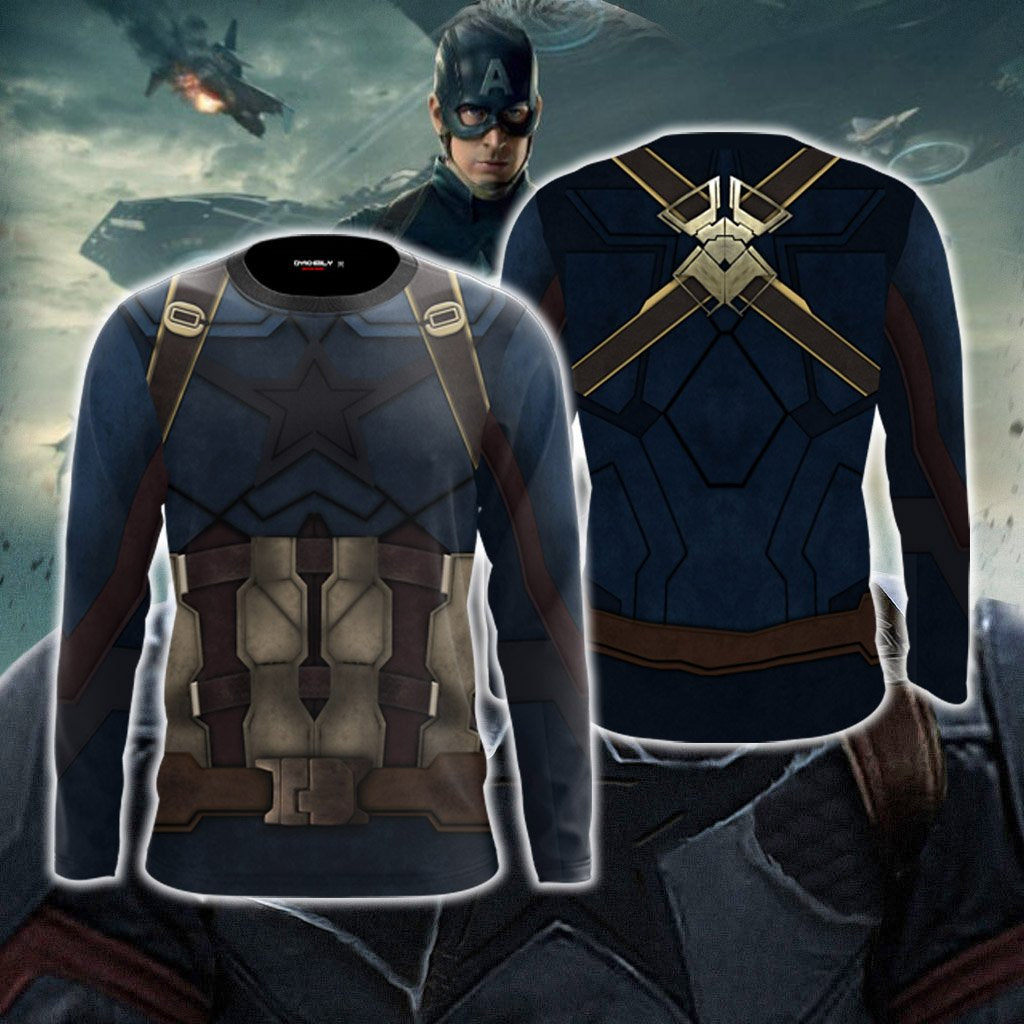 Captain America Cosplay 3D Long Sleeve Shirt