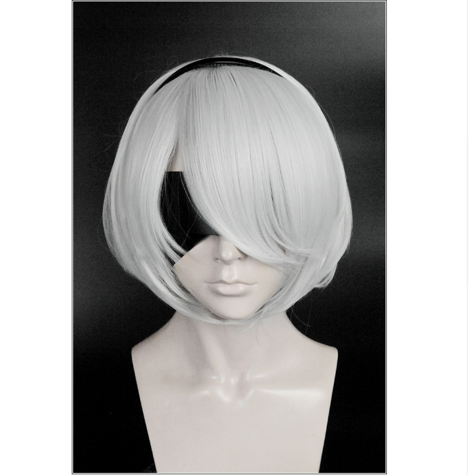 NieR:Automata 2B YoRHa Cosplay Costume Hair Wig (not include eye patch)