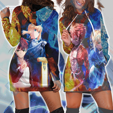 Fate/ Stay Night - Shirou Emiya and Saber 3D Hoodie Dress