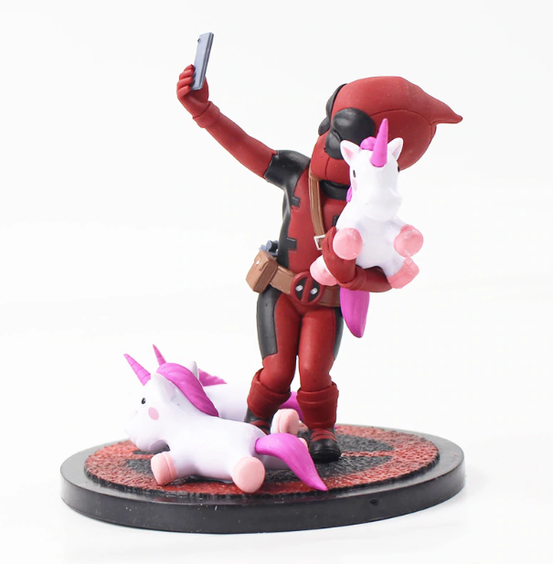 Avengers Deadpool Funny Unicorn Selfie PVC Action Figure Collection Model Toy