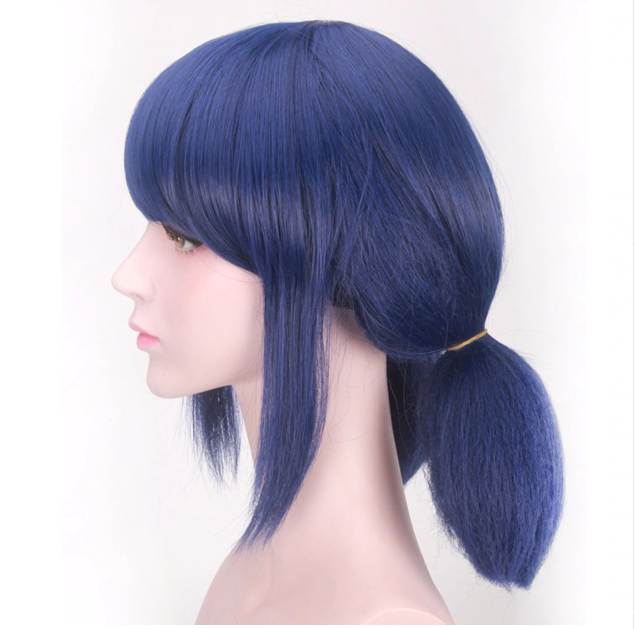 Miraculous Ladybug Wigs Cosplay Short Straight Blue Hair