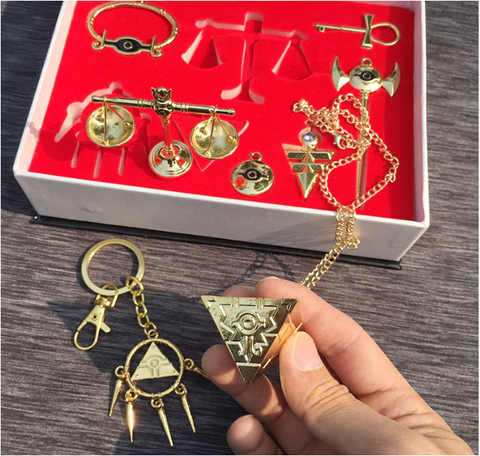 Image of Yu Gi Oh Necklace Keychains Pendant Millenium Emperor's Cosplay Key Triangle Logo 8pcs/set