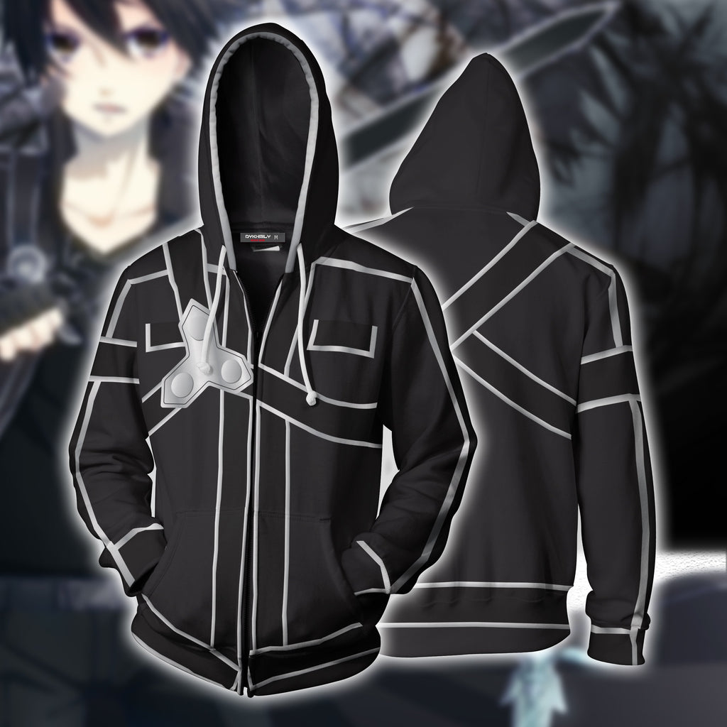 Sword Art Online Kirito Cosplay Zip Up Hoodie Jacket
