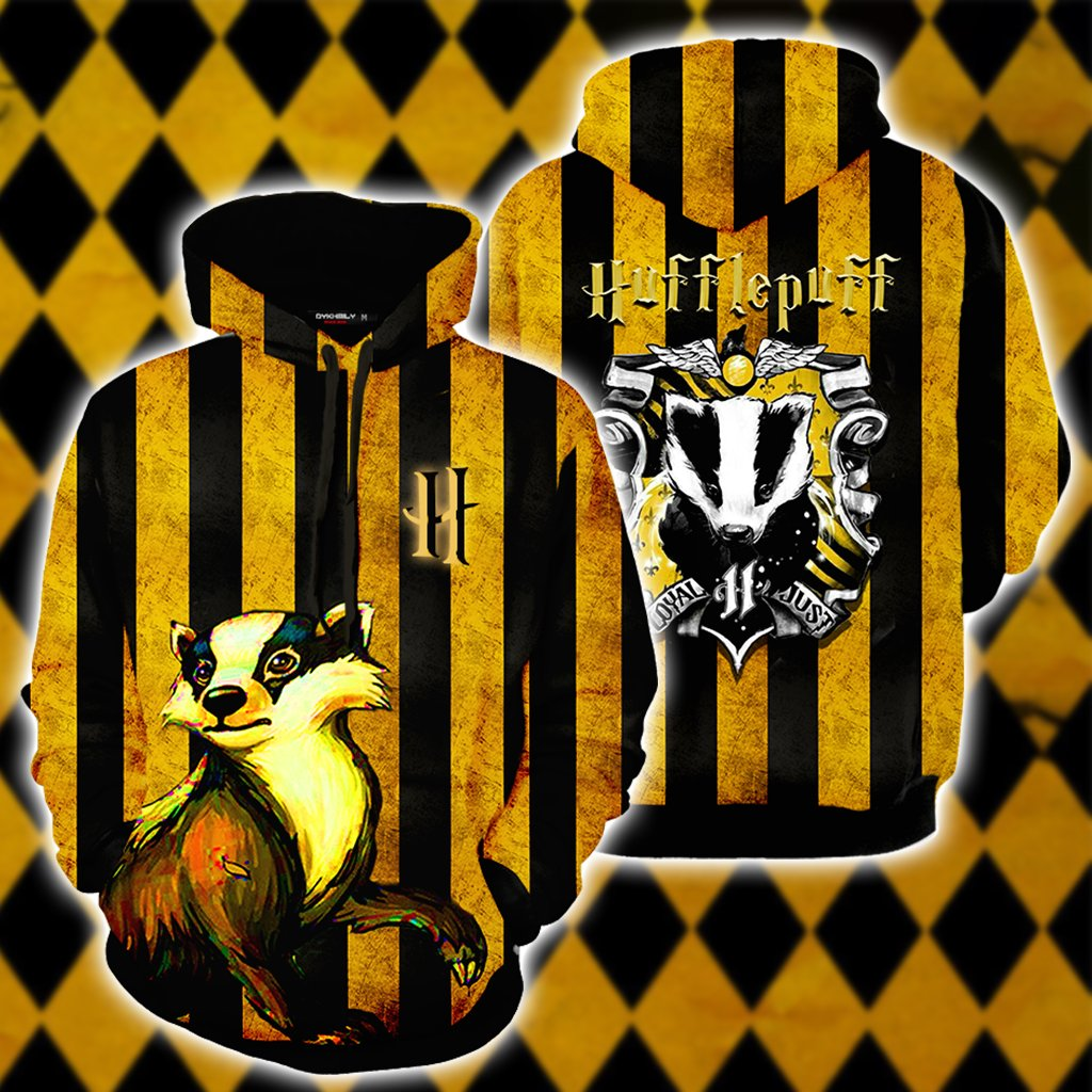 Striped Hufflepuff Harry Potter 3D Hoodie