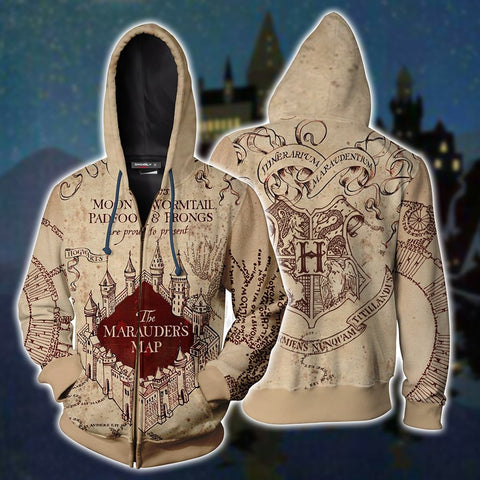 The Marauder's Map Harry Potter Zip Up Hoodie