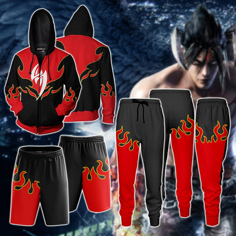 Tekken Jin Kazama Red Flame Cosplay Jogging Pants