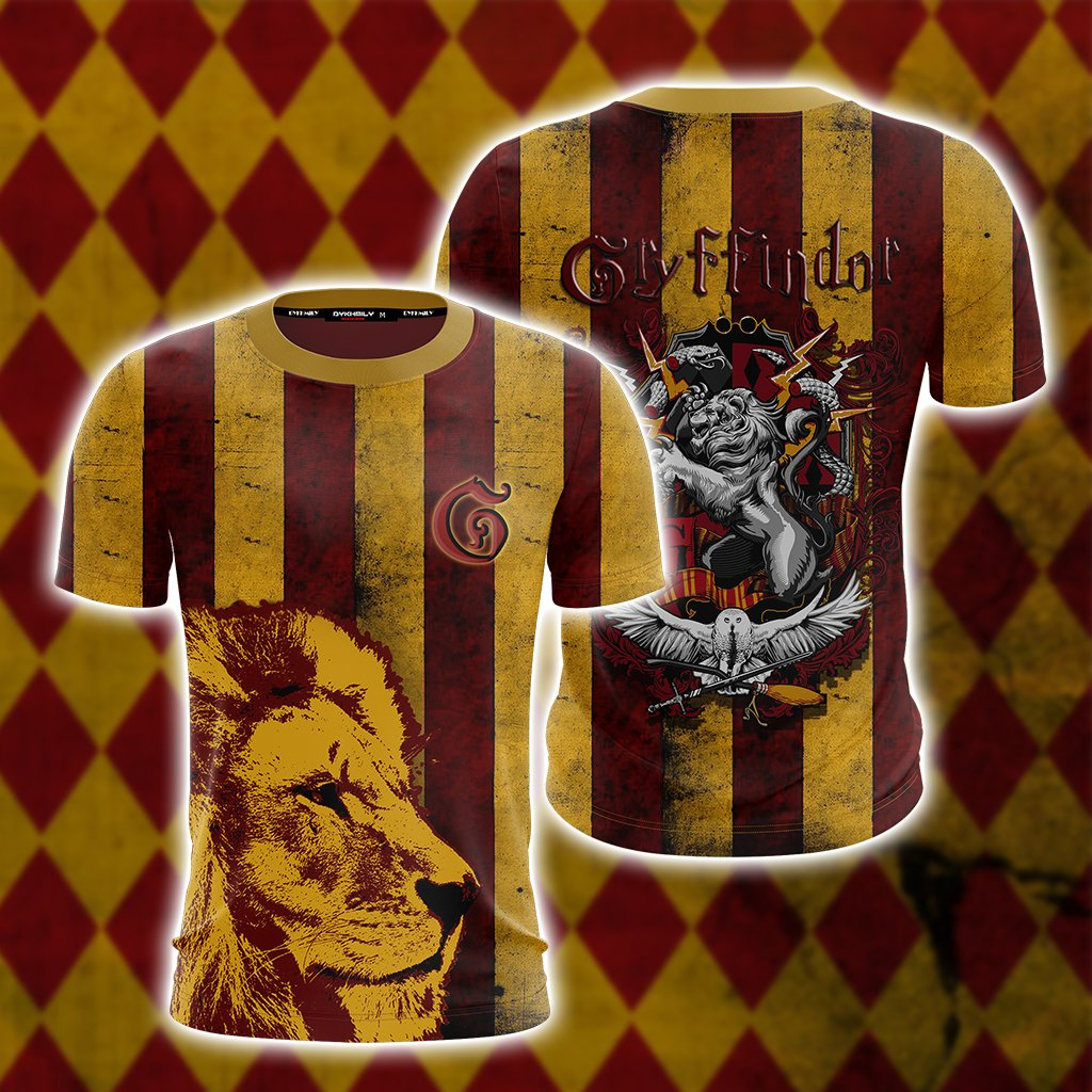 Striped Gryffindor Harry Potter Unisex 3D T-shirt