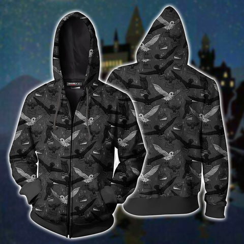 Image of Hedwig Owl Seamless Harry Potter Zip Up Hoodie