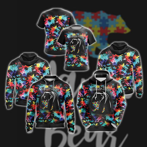Image of Autism Mama Bear 3D Hoodie