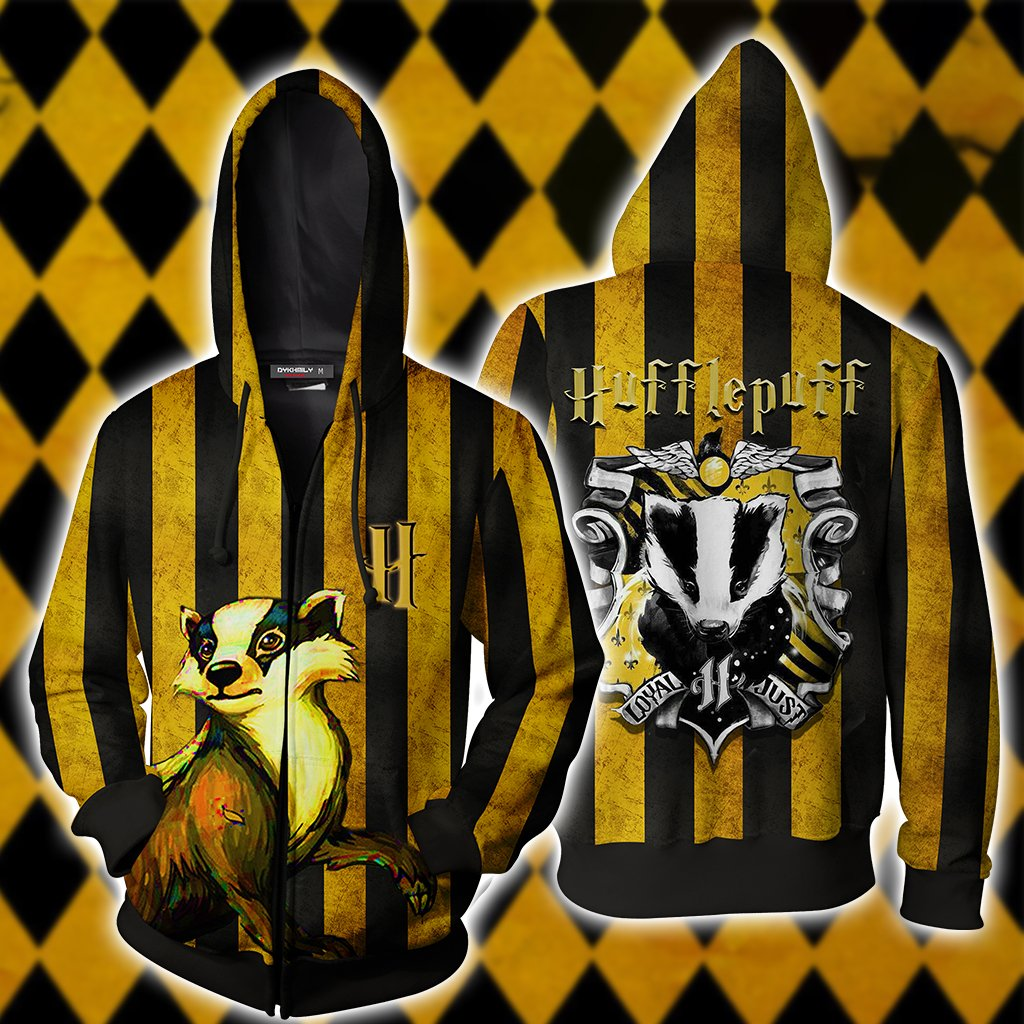 Striped Hufflepuff Harry Potter Zip Up Hoodie