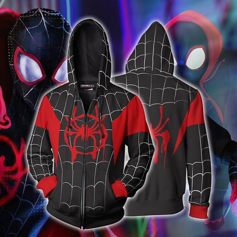 Image of Into The Spider-Verse Spider-Man Cosplay Zip Up Hoodie Jacket