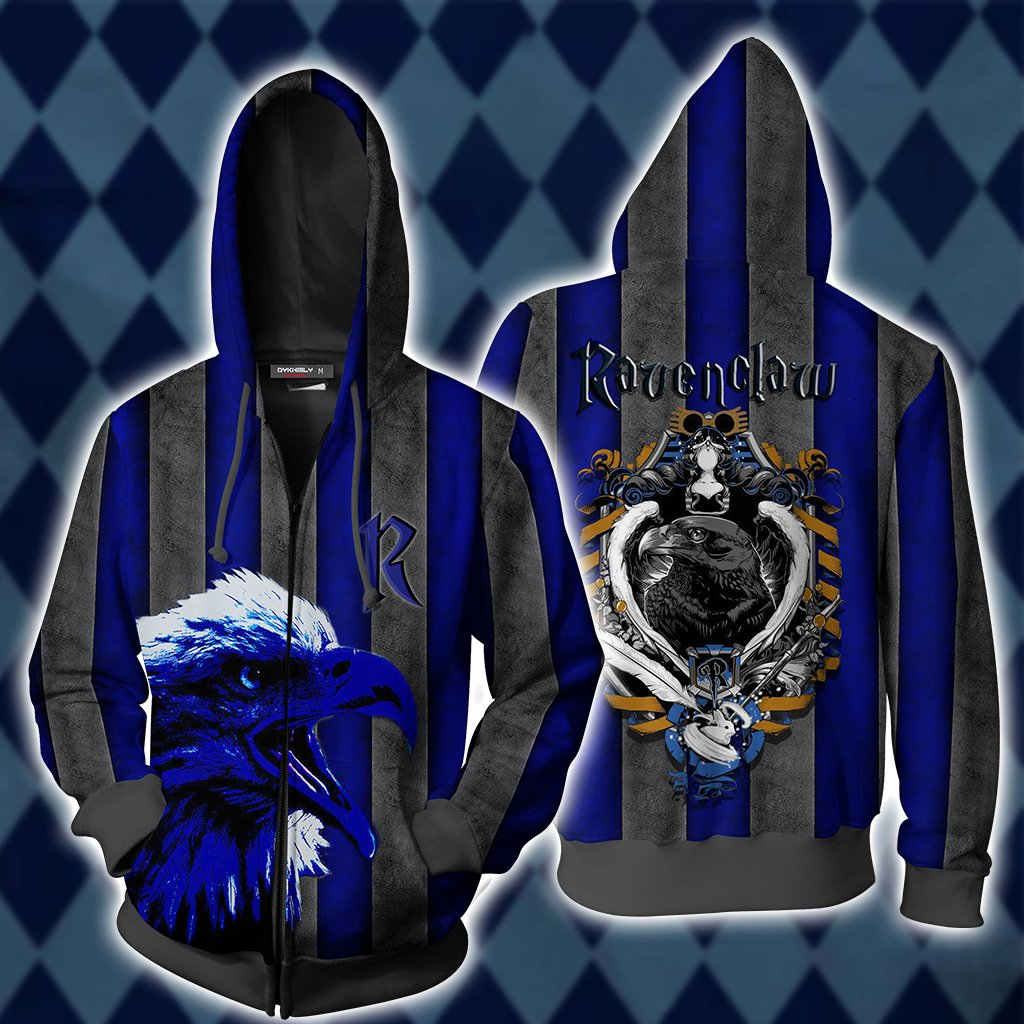 Striped Ravenclaw Harry Potter Zip Up Hoodie