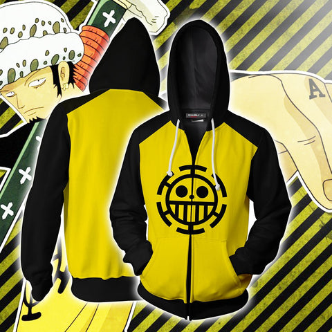 Image of One Piece Trafalgar D. Water Law Cosplay Zip Up Hoodie Jacket