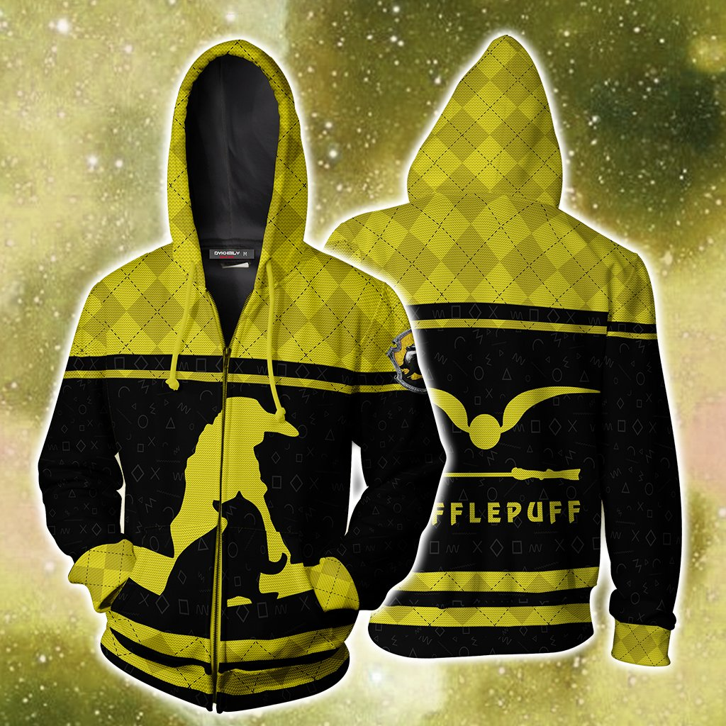 Hufflepuff Quidditch Team Harry Potter New Collection Zip Up Hoodie