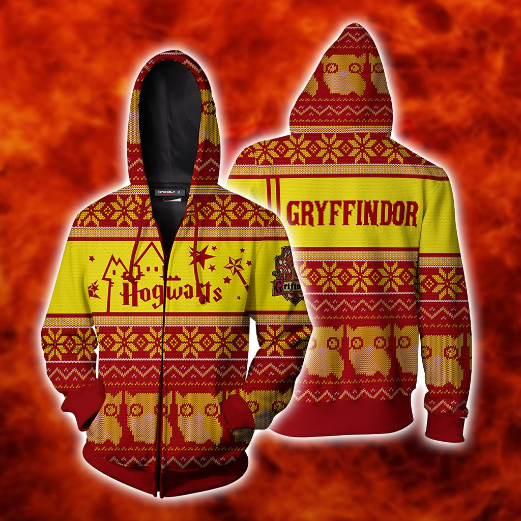 Gryffindor Harry Potter Ugly Christmas Zip Up Hoodie