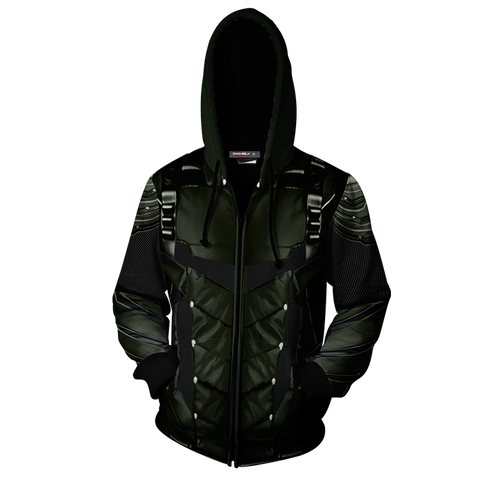 Arrow Oliver Cosplay Zip Up Hoodie Jacket