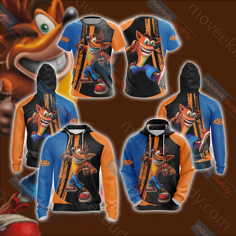 Crash Bandicoot New Look Unisex Zip Up Hoodie Jacket