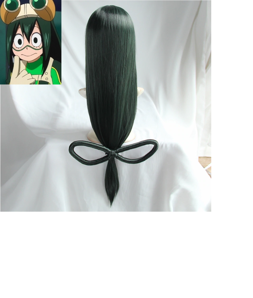 My Hero Academia Tsuyu Asui Cosplay Long Straight  Synthetic Hair
