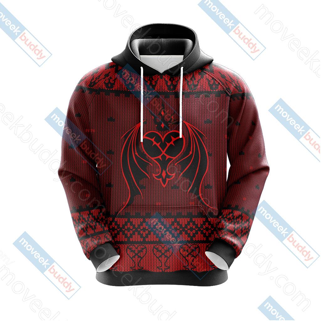 Kingdom Hearts - Heartless Symbol Knitting Style Unisex 3D Hoodie