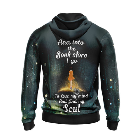 Image of And Into The Book Store I Go To Lose My Mind And Find My Soul Unisex Zip Up Hoodie