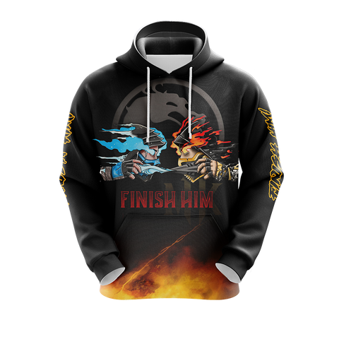 Image of Mortal Kombat Scorpio And Sub Zero Finish Him Unisex 3D Hoodie