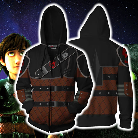 Image of How To Train Your Dragon Hiccup Cosplay Zip Up Hoodie Jacket