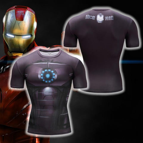 Image of Iron Man Cosplay Short Sleeve Compression T-shirt
