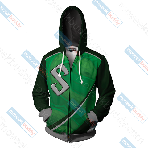 Image of Harry Potter - Slytherin House Wacky Style Unisex 3D Zip Up Hoodie