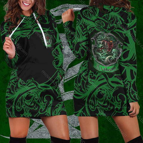 Image of Cunning Like A Slytherin Harry Potter 3D Hoodie Dress
