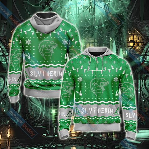 Image of Harry Potter - Slytherin House Christmas Style Unisex Zip Up Hoodie