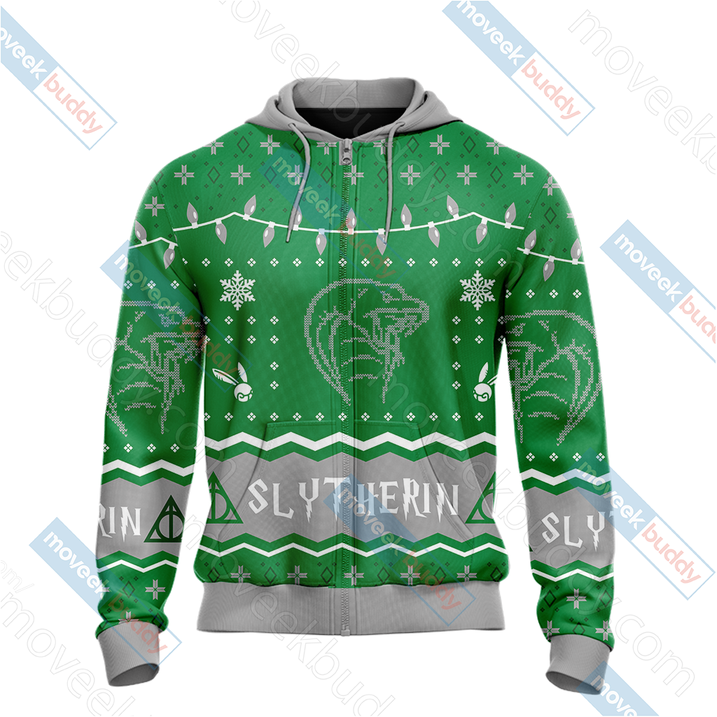 Harry Potter - Slytherin House Christmas Style Unisex Zip Up Hoodie