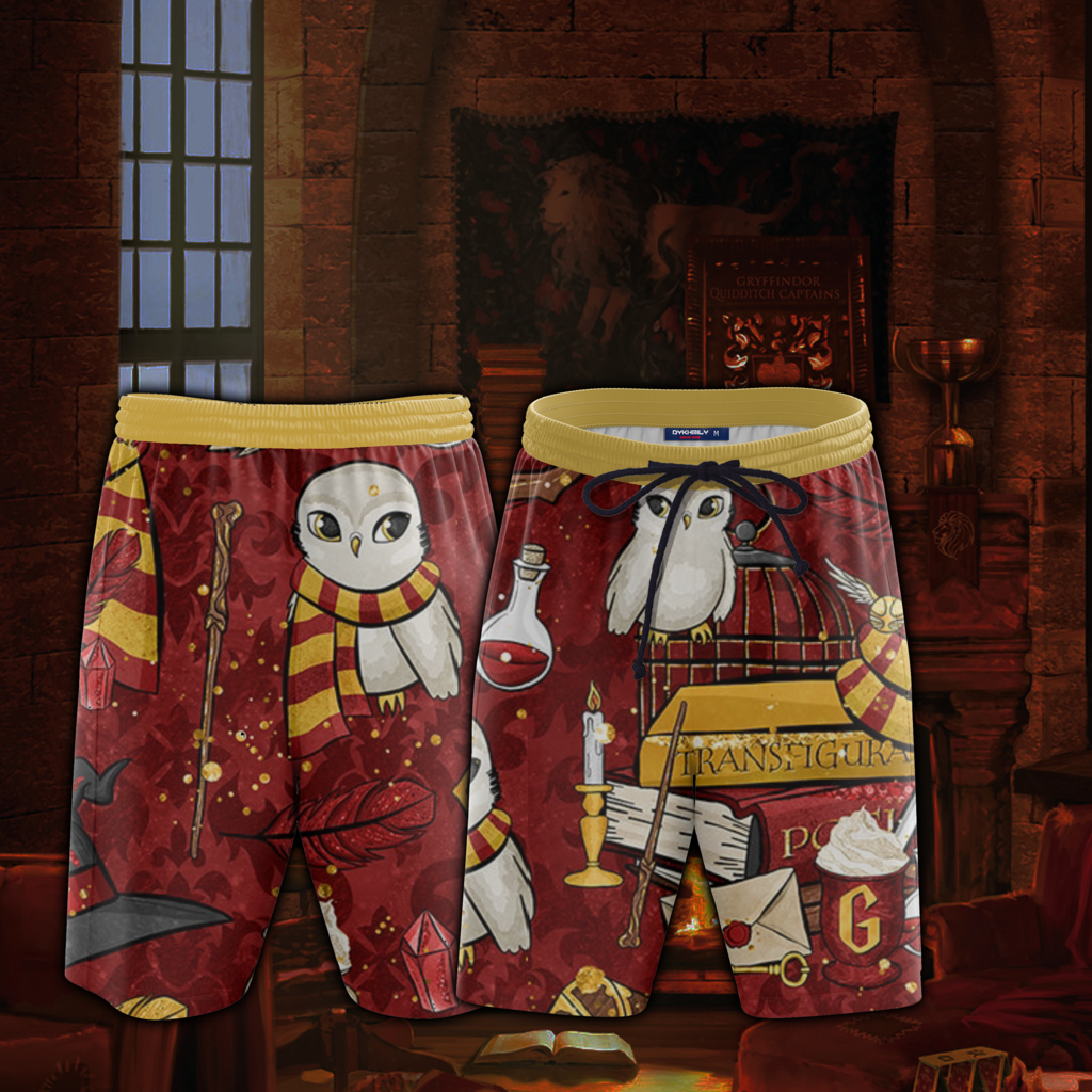 Hogwarts Gryffindor House Pattern Harry Potter Beach Short
