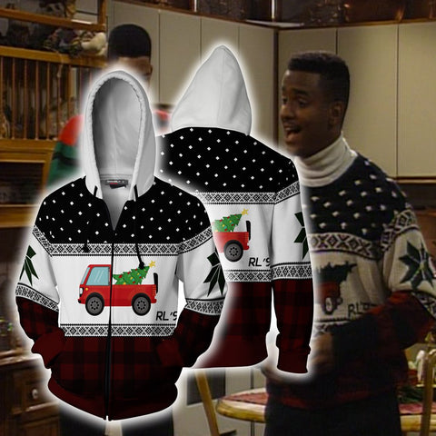 "Image of ""The Fresh Prince of Bel-Air"" Christmas Show Carlton Banks Cosplay Zip Up Hoodie Jacket"
