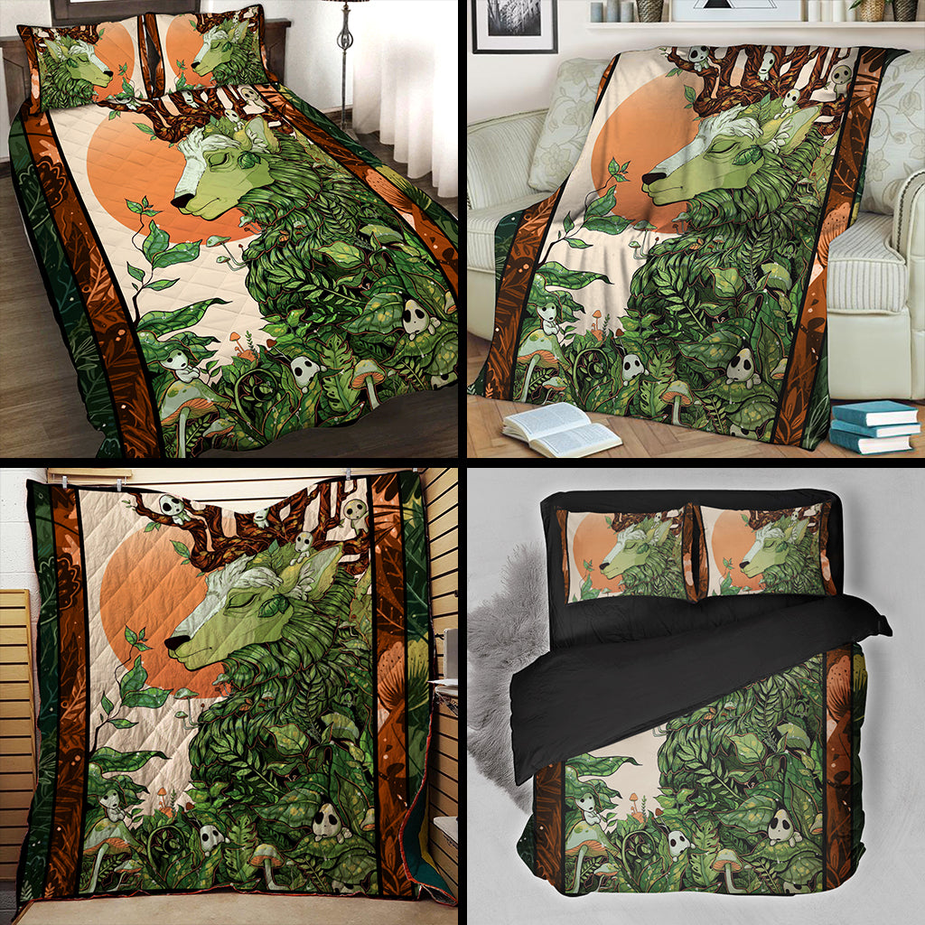 Deer And Kodama Ghibli Studio 3D Bed Set