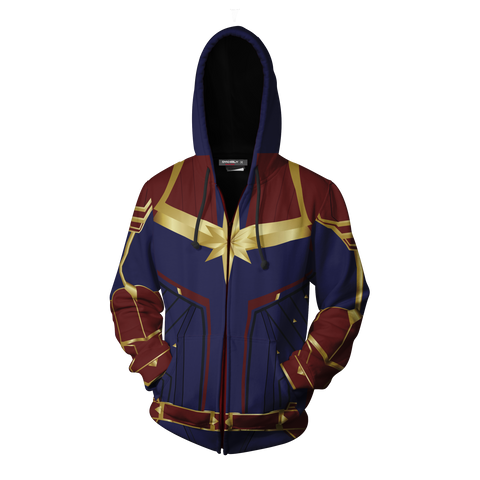 Captain Marvel Cosplay New Look Zip Up Hoodie Jacket