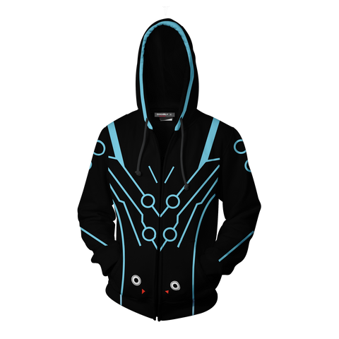 Overwatch Cosplay Genji Carbon Fiber Skin Zip Up Hoodie Jacket
