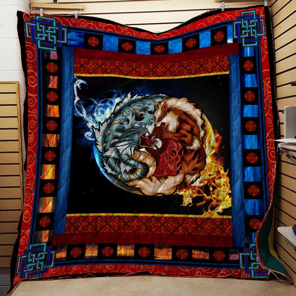 Pokemon The Tiger And The Dragon Gyarados Yin Yang 3D Quilt Blanket
