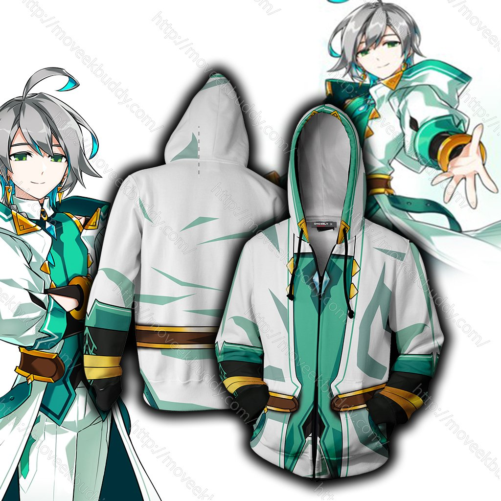 Elsword Ain Cosplay Zip Up Hoodie Jacket