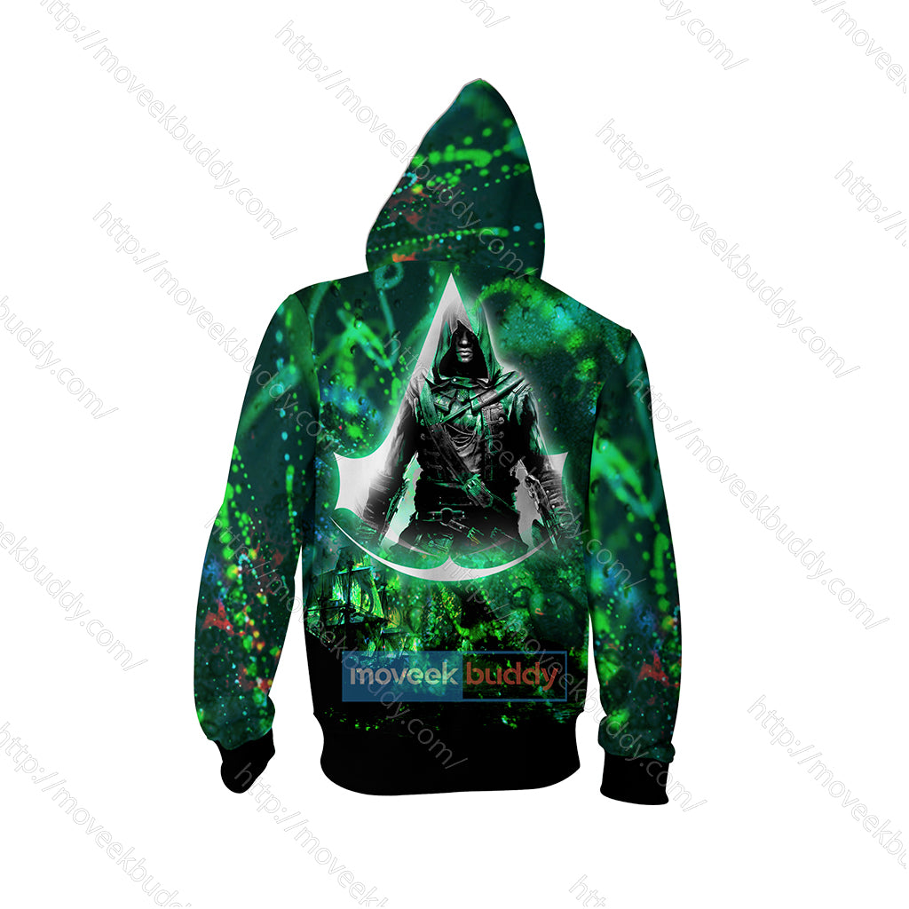 Assassin S Creed Iv Black Flag Edward Cosplay Zip Up Hoodie Jacket