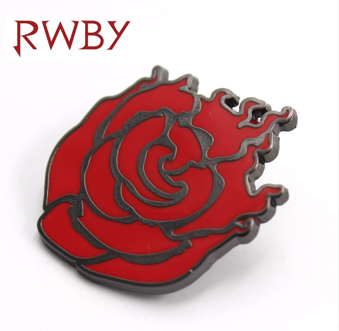RWBY Ruby Rose Rose Style Metal 4CM Pin Badge Brooch Chespin Costume Accessory