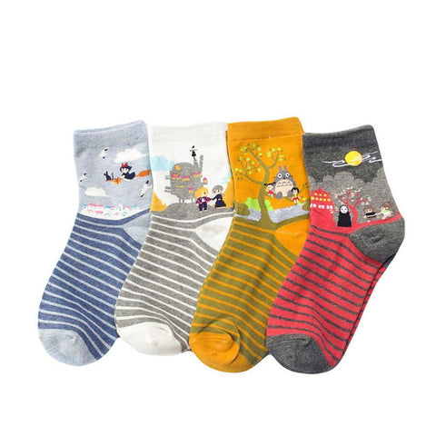 Image of Ghibli Movies Totoro Spirited Away Kiki Howl's Moving Castle Stripes Socks