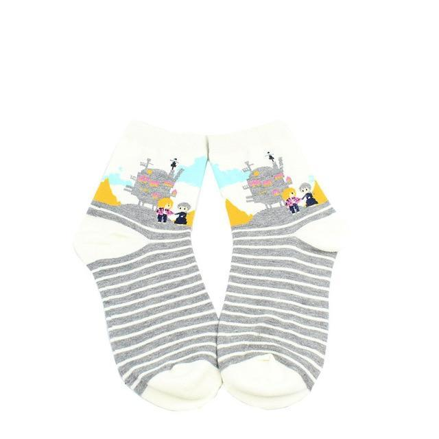 Ghibli Movies Totoro Spirited Away Kiki Howl's Moving Castle Stripes Socks