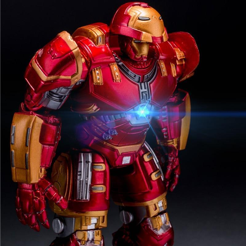 Avengers 2 Iron Man Hulkbuster Armor Joints Movable 18CM Mark With LED Light Action Figure Collection Model Toy