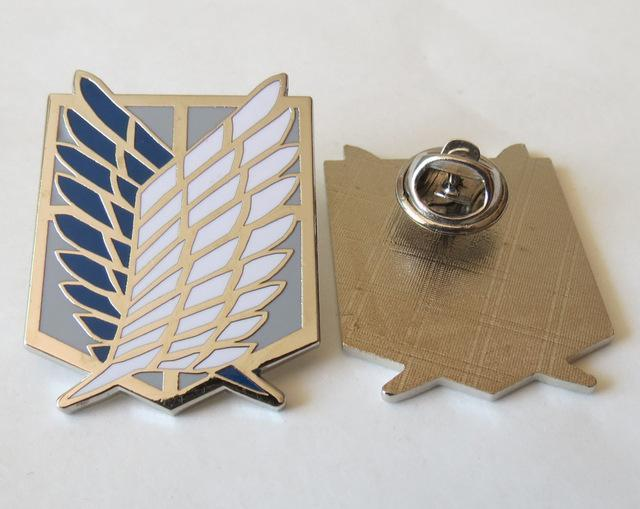 Attack On Titan Badge Anime Peripheral Pins Scout Regiment Logo Brooch Survey Corps Erwin