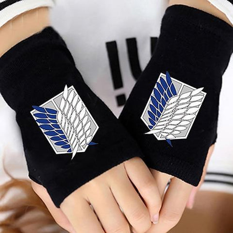 Image of Attack on Titan Finger Cotton Knitting Wrist Gloves