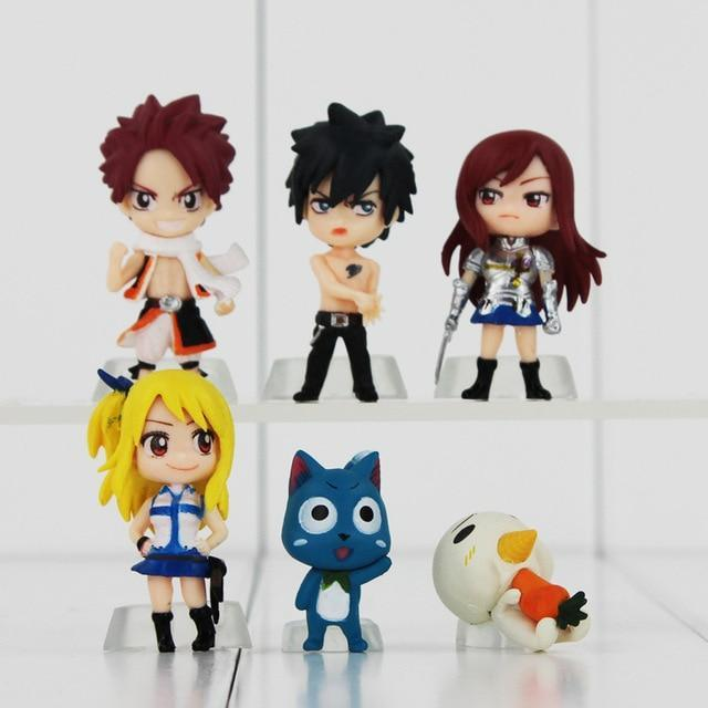 Fairy Tail Figure Toy Lucy Natsu Gray Happy Erza Scarlet Mini Keychain Pendant