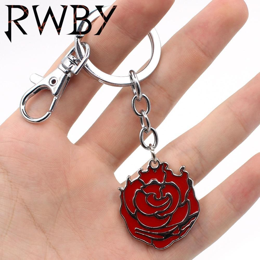 RWBY Ruby Rose Red Symbol Metal Pendant Keychain Keyring Necklace Chain