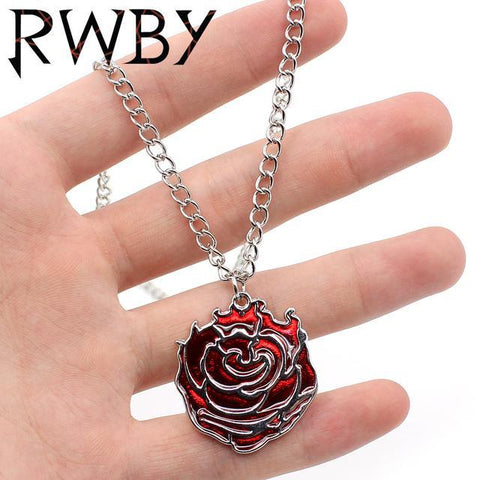 Image of RWBY Ruby Rose Red Symbol Metal Pendant Keychain Keyring Necklace Chain