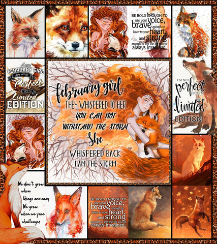 Image of Fox February Girl 3D Quilt Bed Set